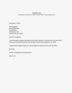 30 Day Notice Letter Template - Part Time Job Resignation Letter Samples and Tips
