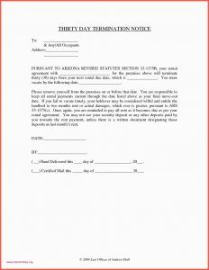 30 Day Notice Letter Template - Example Letter to Vacate Rental Property 30 Day Notice to Vacate