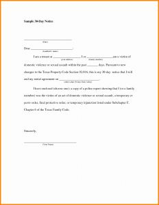 30 Day Notice Letter Template - 30 Day Notice to Vacate Letter to Tenant Template Sample