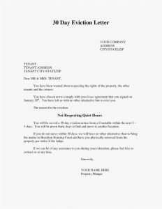 30 Day Notice to Vacate Letter Template - Landlord Eviction Letter Template Examples