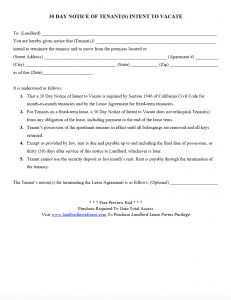 30 Day Notice to Vacate Letter Template - 30 Day Notice to Vacate Letter to Tenant Template Examples