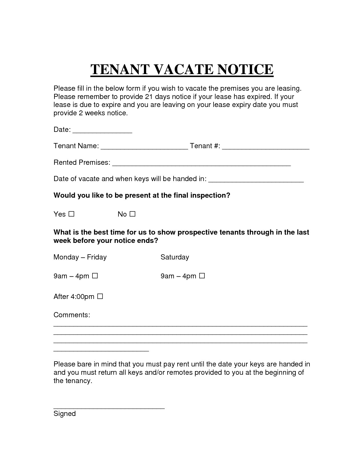 30 day notice to vacate letter template example-30 day notice to vacate letter to tenant template template letter to leave property new printable sample vacate notice form 11f 20-m