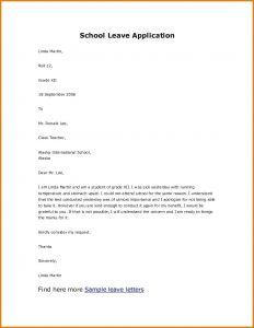 Absence From School Letter Template - Letter format for Leave In School Refrence Yesterday Leave Letter