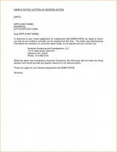 Adverse Action Letter Template - Sample Letter Undertaking for Hotel Booking Inspirationa Contoh