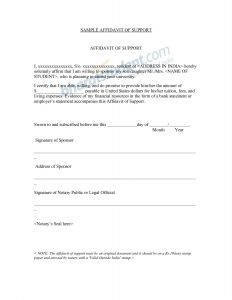 Affidavit Of Support Template Letter - Affidavit Of Support Letter Marriage