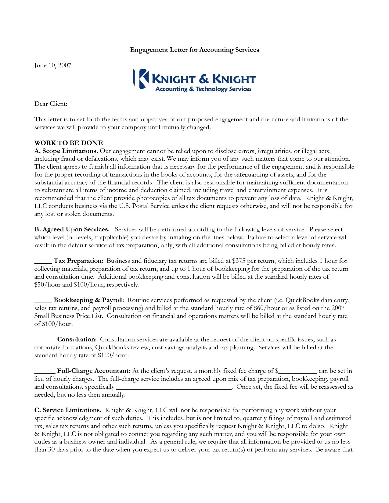 9 Agreed Upon Procedures Engagement Letter Template Ideas
