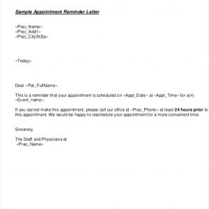 Appointment Reminder Letter Template - Appointment Reminder Letter Template Examples