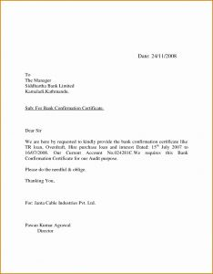 Audit Confirmation Letter Template - Bank Balance Confirmation Letter format for Auditors Best S
