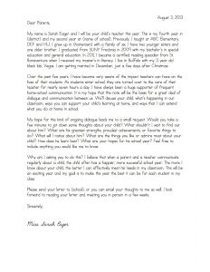 Back to School Parent Letter Template - Teacher Wel E Letter to Parents Template Samples