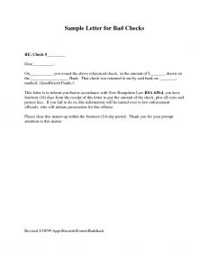 Bad Check Letter Template - Bounced Check Letter