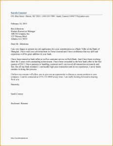 Bank Teller Cover Letter Template - Cover Letter Teller Position New Bank Teller Cover Letter Example