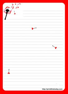 Blank Love Letter Template - Love Letter Pad Stationery with Dandelion Stationary