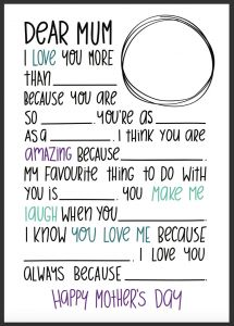 Blank Love Letter Template - Dear Mum – Fill In the Blanks Mother S Day Letter – Be A Fun Mum