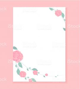 Blank Love Letter Template - Love Letter Blank Template with Rose Flower Pattern Background Stock