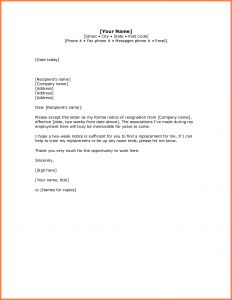 Board Member Resignation Letter Template - 5 Simple Resignation Letter Sample 1 Week Notice