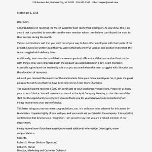 Bonus Letter to Employee Template - Sample Award Letter for Employees to Recognize Success