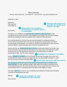 Bonus Letter to Employee Template - How to Write An Award Letter to Recognize An Employee