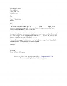 Bounced Check Letter Template - Returned Check Letter Template