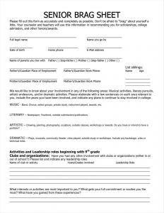 Brag Sheet Template for Letter Of Recommendation - Brag Sheet for Letter Re Mendation Example