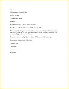 Breaking Lease Letter Template - End Lease Letter Template Sample