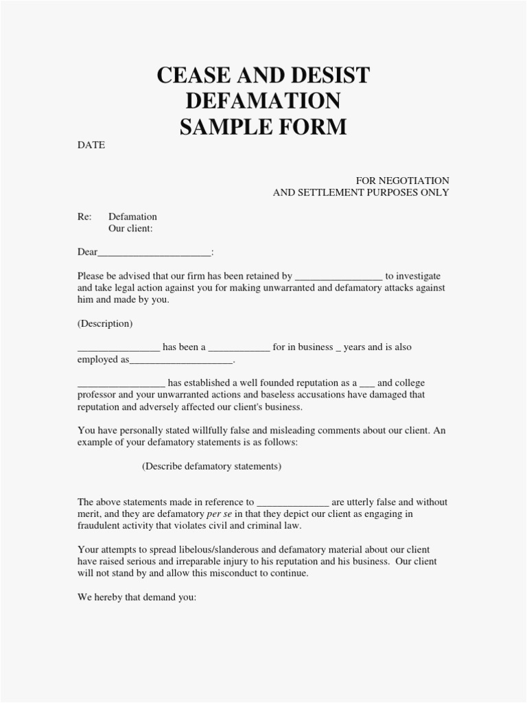 cease and desist defamation letter template example-cease and desist slander letter template 18-m