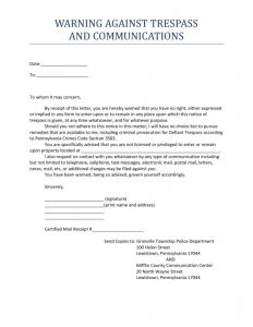Cease and Desist Trespassing Letter Template - No Trespassing Letter Template