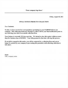 Collections Letter Template Final Notice - Past Due Collection Letter Template Gallery
