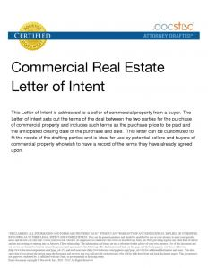 Commercial Real Estate Letter Of Intent Template - Mercial Real Estate Proposal Letter