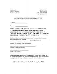Community Service Letter Template - Court ordered Munity Service Letter Template Download