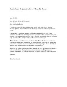 Completion Letter Template - Scholarship Thank You Letter Template Samples
