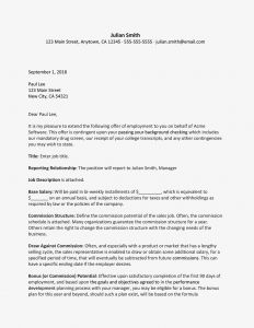 Conditional Offer Of Employment Letter Template - Sales Representative Job Fer Letter Sample