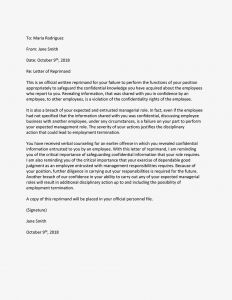 Confidential Letter Template - Sample Letters Of Reprimand for Employee Performance