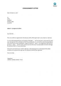 Consignment Letter Template - Consignment Letter