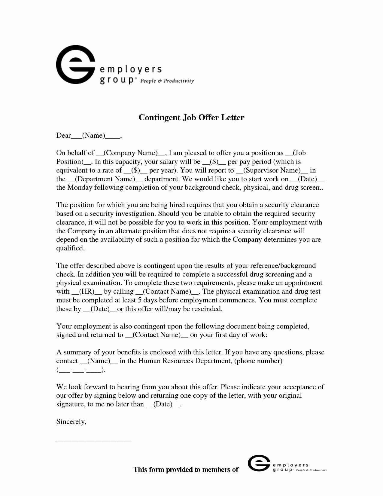 contingent offer letter template Collection-Conditional fer Employment Letter Template Free Creative Letter Intent Job fer Employment Sample Great Fer For 8-g