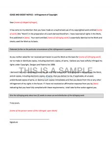 Copyright Cease and Desist Letter Template - Cease and Desist Letter Uk Template