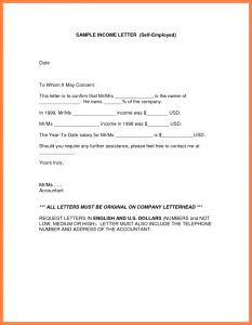 Cpa Letter for Self Employed Template - Self Employed Letter Sample