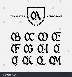 Crayon Monogram Letter Template - Monogram Design Template Binations Capital Letters Stock Vector