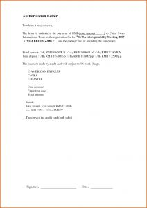 Credit Card Authorization Letter Template - Car Authority Letter