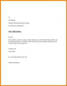 Credit Card Authorization Letter Template - format Authorisation Letter to Bank New Authorization Letter