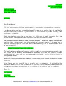 Credit Inquiry Removal Letter Template - Credit Dispute Letter Sample Free
