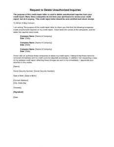 Credit Inquiry Removal Letter Template - Letter Explanation for Credit Inquiries Template Examples
