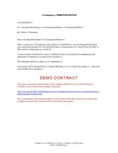 Demotion Letter with Decrease In Salary Template - Voluntary Demotion Letter to Employer Template