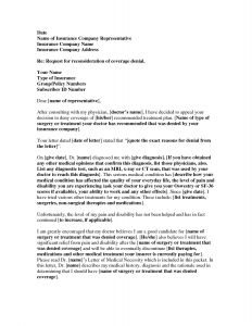 Disability Letter From Doctor Template - Disability Insurance Appeal Letter Template Samples