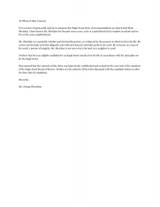 Eagle Scout Letter Of Recommendation Template - Download Eagle Scout Re Mendation Letter Sample Letters by