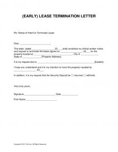 Early Lease Termination Letter to Landlord Template - Letter Intent Early Lease Termination Template 791x1024 to