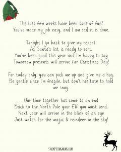 Elf On the Shelf Goodbye Letter Template - Elf A Shelf Goodbye Letter Printable
