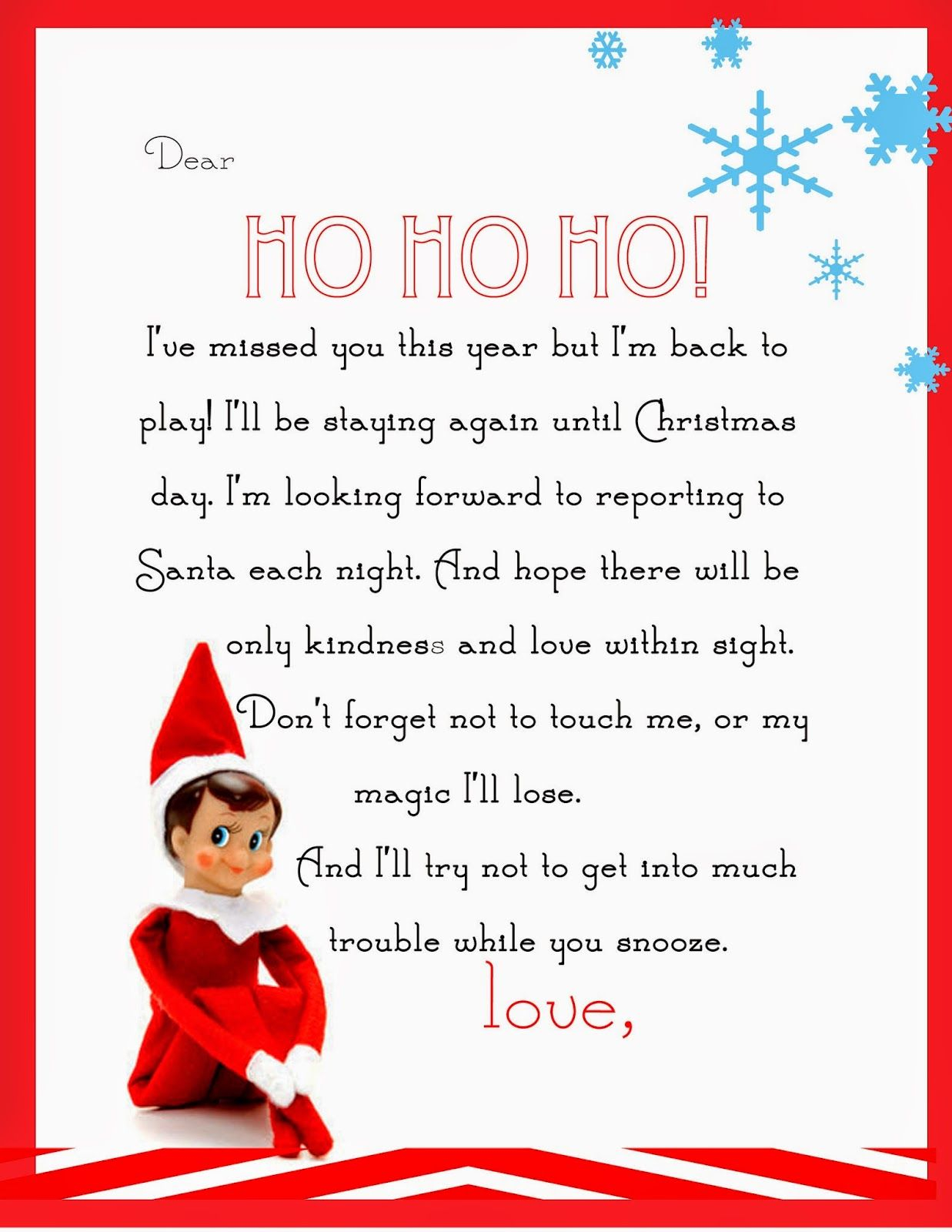 elf on the shelf letter template example-Elf on the Shelf Letter free printable 12-t