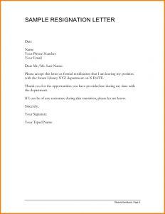 Employee Resignation Letter Template - 11 Sample Resignation Letter Cashier Resume Work