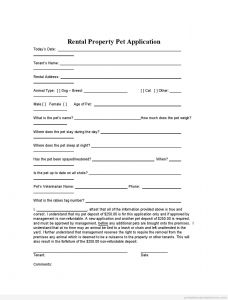Encroachment Letter Template - Printable Rental Property Pet Application Template 2015