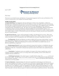 Engagement Letter Template for Accountants - Bookkeeping Engagement Letter Template Samples